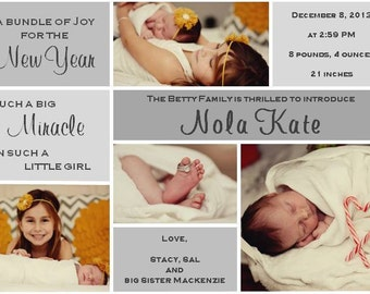 New Baby New Year birth announcement