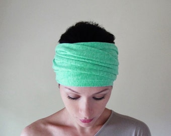 SPRING GREEN Head Scarf - Vibrant Emerald Hair Wrap - Cotton Jersey Head Covering - Extra Wide Jersey Headband - Womens Hair Accessories