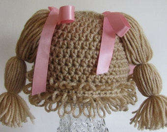 Buff Cabbage patch hat for 9-12 months