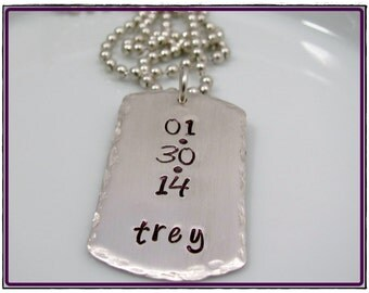 Hand Stamped Sterling Silver DOG TAG- Men's Personalized Custom gift