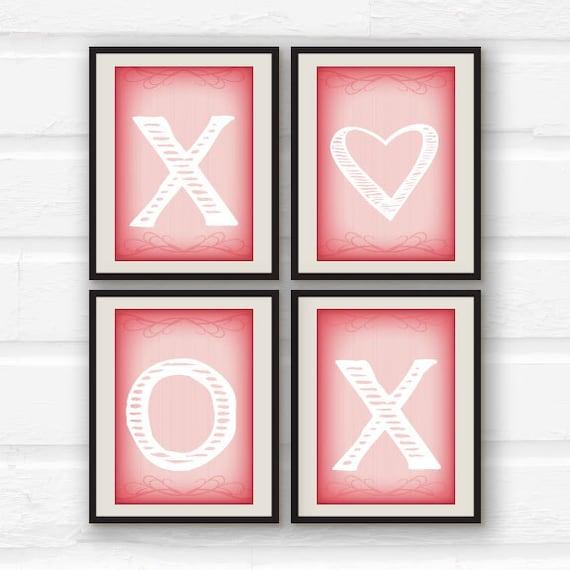 Items Similar To Xoxo Love Decor Set Of 4 Prints