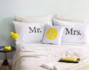 Mr. & Mrs. Pillowcases - Hand Screen Printed