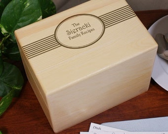 Engraved Family Recipes Personalized Recipe Box -gfy8526853