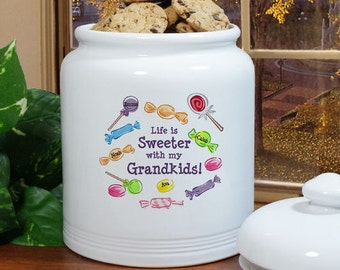 Life Is Sweeter Personalized Ceramic Cookie Jar [cookie jar, cookie container, cookie, ceramic, white, personalized, colorful] -gfyU89515