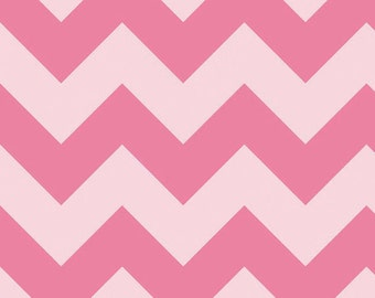 04416 - Riley Blake Large  tonal chevron C390-71 cotton fabric in  hot pink color- 1 yard