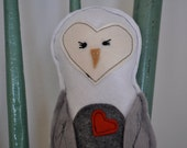 Plush Owl Toy- White Snowy Owl with Gray Wings and Red Heart