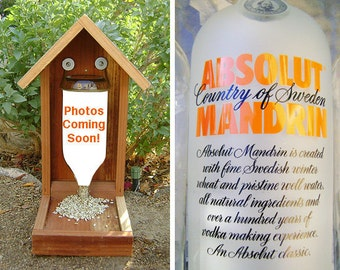Bottle BIRD FEEDER, Vodka Bottle, Recycled Vodka Bottle. Upcycled, Hand Made (bird seed not included). Ready to Ship