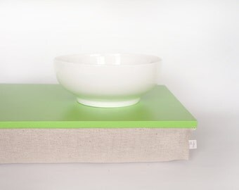 Bed tray, iPad stable table or Laptop Lap Desk with neautral pillow - Bright green with natural thick linen pillow