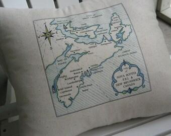 Nova Scotia, PEI, Fathers Day, New Brunswick, Canada, Vintage Map Pillow, Blue Pillows, Cottage, Shore, Beach Decor