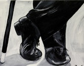 art, painting, tap dancer, tap dancing, black and white painting, dance painting, black and white art, acrylic art, office art, wall art,