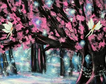 Fantasy forest art, enchanted forest art, magical forest art, fairy forest, fireflies, wall artwork, wall decor, acrylic art, original art