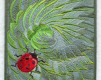 RESERVED for Jason - Ladybug on Succulent Embroidered Flour Sack Hand/Dish Towel