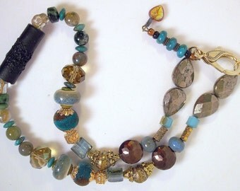 Black, blue, pyrite choker necklace, goldtone, real turquoise, crystal, agate, tribal, Boho, ethnic, rustic, eclectic, fun: Treasure Box