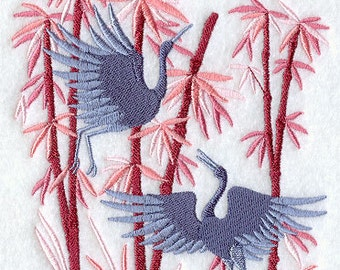 Asian Cranes Embroidered Flour Sack Hand/Dish Towel