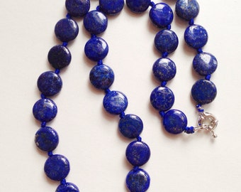 """Blue Lapis Lazuli coin necklace // 18""""L"""