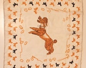 vintage French Silk Scarf with Poodle dog Pudel