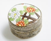 SALE Vintage Porcelain Flower Silver Plate Trinket Powder Box 30s