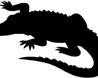 Alligator Animal lover Silhouette die cut Vinyl decal sticker.