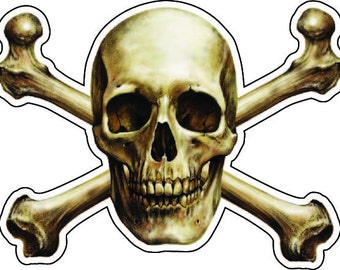 Skull and Crossed Bones  high resolution Vinyl decal sticker