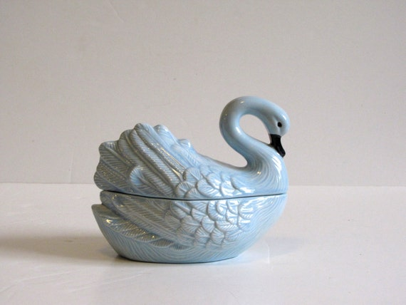 Vintage Blue Swan Porcelain Candy Dish with cover