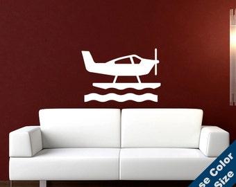 Sea Plane Wall Decal - Vinyl Sticker - Free Shipping