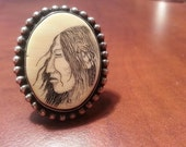 Vintage SCRIMSHAW Ring...Native Ring...Silver Ring...Native American Chief Face...Bone Jewelry...Aboriginal art...Beautiful