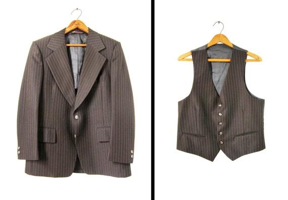 Vintage 70s Pinstripe Suit Phoenix Jacket and Vest Two Piece Union Made - Size 40 R