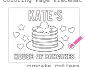 Pancake Party - HR Custom Name- Coloring Pages and Placemat  -Birthday Breakfast- DIY  Digital Pages U PRINT