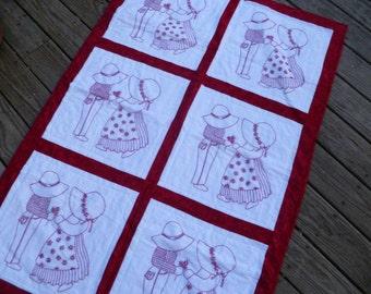 Dutch Boy and Girl redwork embroidered crib quilt