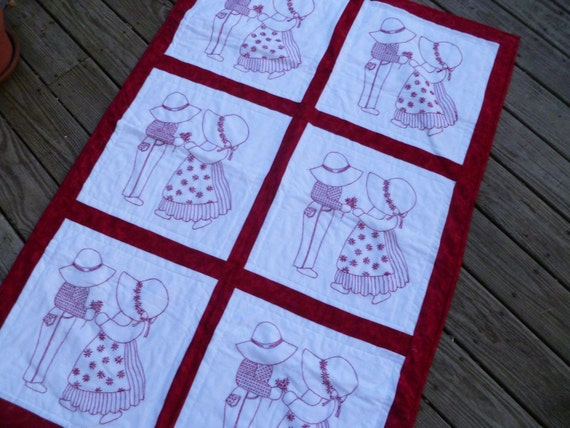 Dutch Boy and Girl redwork embroidered crib quilt by designintime