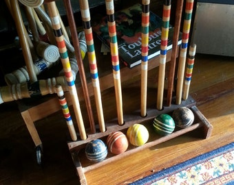 Croquet Set with Stand and Balls. Stand Included. Vintage Bright Championship. Garden Decor. Outdoor