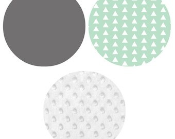 Crib Bedding Set - 4 Piece Set - Crib Bumper, Fitted Crib Sheet, Crib Skirt, Changing Pad Cover - Mint, Grey, White