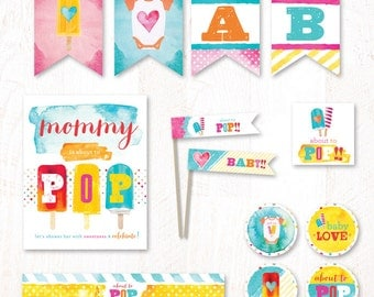 Watercolor Popsicle Baby Shower - Instant Downoad PRINTABLE Party Kit