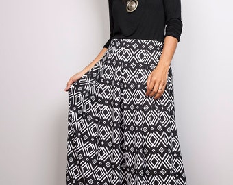 Floor Length Skirt - Black and White Maxi Skirt : Feel Good Collection No.3
