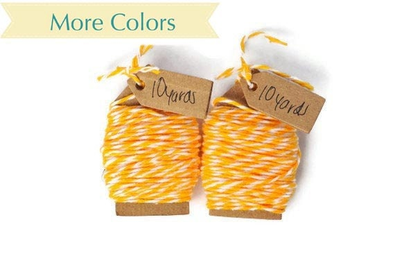 Sunshine yellow cotton Bakers twine wrapping cord. 20 yards of thin string supplies for scrapbooking and crafts