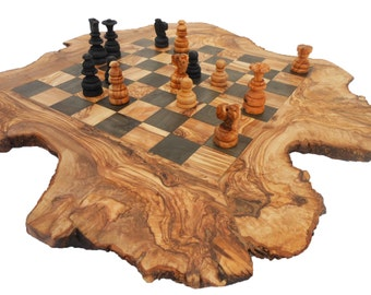 Unique Rustic Olive Wood Chess Set Board 18 Inch, Custom Engraved Monogrammed Wooden Chess Set Game, Rustic Personalized Dad gift