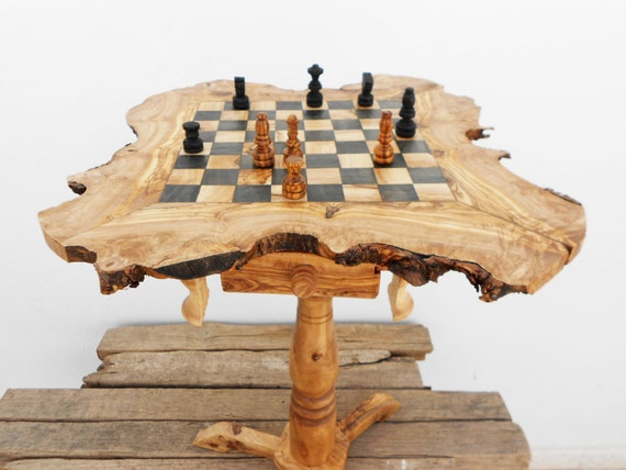 Olive wood chess table wooden rustic exotic chess board set - Wooden chess tables ...