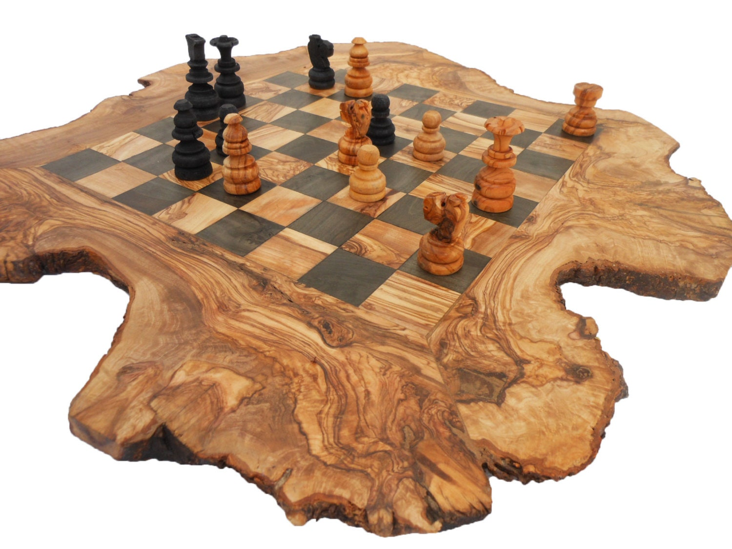 Unique Olive Wood Rustic Chess Board Custom Engraved