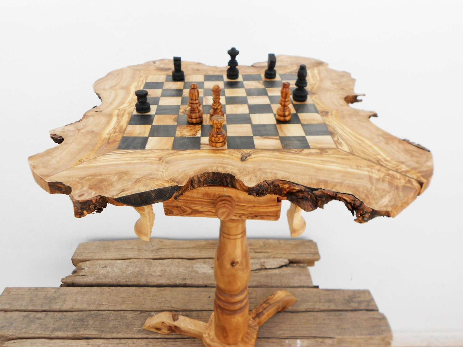 Wooden Chess Table ~ Black friday etsy sale off olive wood chess table