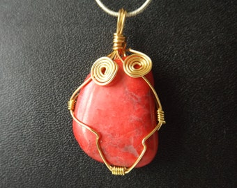 Red Howlite wire wrap pendant (# 1968)