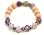 Amethyst and Rose wood wrist mala bracelet, japa mala, mala beads, yoga mala, yoga jewelry, meditation mala