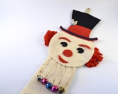 Vintage Christmas Snowman Felt Wall/Door Decor, Retro Kitsch Holiday