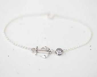Anchor Bracelet - sterling silver anchor bracelet with small crystal accent