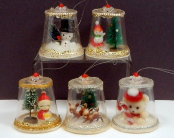 Vintage Christmas 3 Dimensional Hand Crafted Ornaments x 5