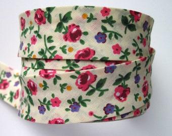 Floral bias binding- cream, pink flowers