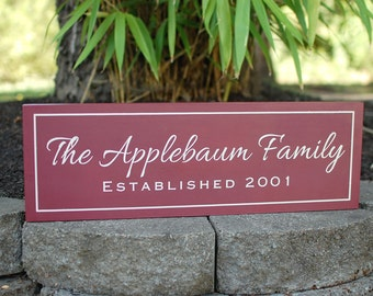 Custom family sign with family name and established date - personalized - custom wood sign in colors of your choice  LR-027