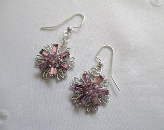 Lilac Crystal Flower  Earrings