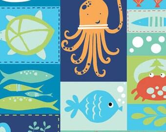 SALE - Under the Sea - Sea Life Patchwork - Organic Cotton Print from Monaluna