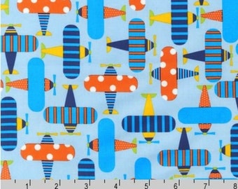 Ready, Set, Go! Planes Sky Blue - Organic Cotton Fabric by Ann Kelle from Robert Kaufman
