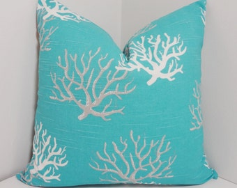 Ocean Blue Coral Pillow Cover Blue Grey White Coral Nautical Pillow Cover All Sizes